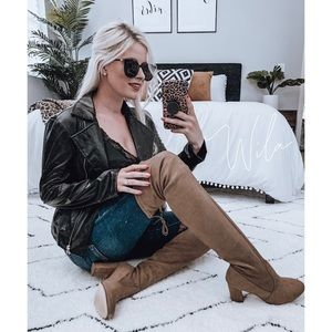 Tan suede over the knee boots brown